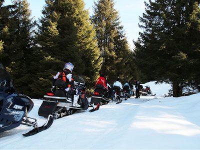 Snowmobile on snow